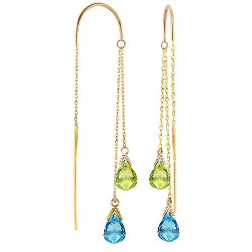 2.5 CTW 14k Solid Gold Blue Topaz and Peridot Threaded Dangle Earrings