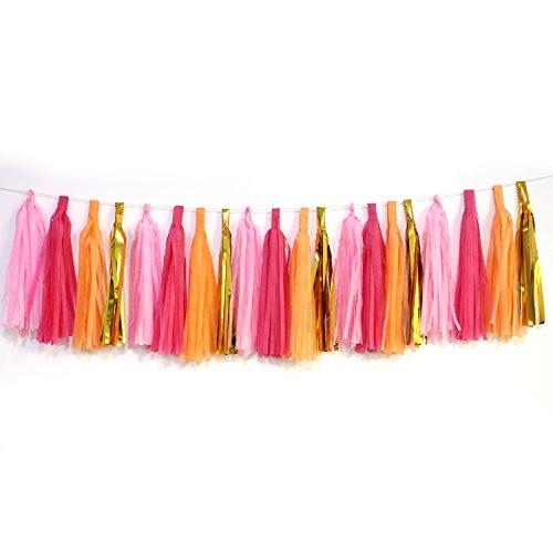 Tissue Paper Tassel Garland, Regmtme 20pcs Party & Wedding Decoration Paper Tassels (Rose+Pink+Orange+Gold)