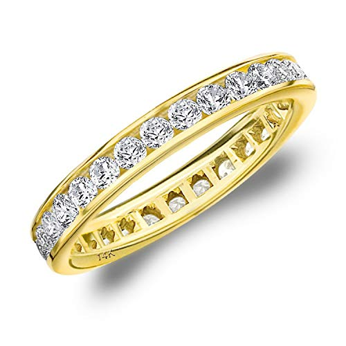 Gemstone Bands Diamond (1CT Classic Channel Set Diamond Eternity Ring in 14K Yellow Gold - Finger Size 7)