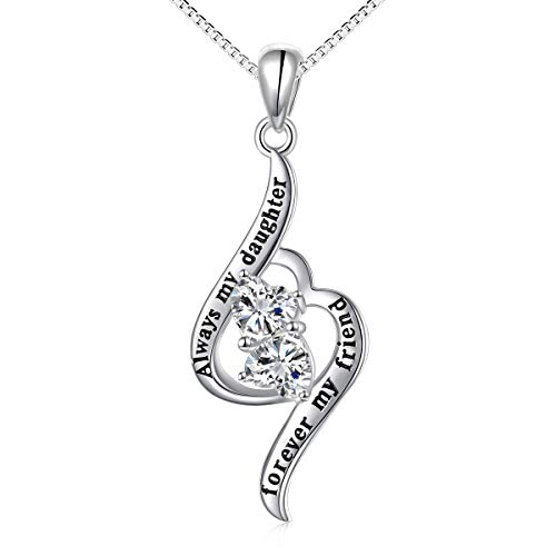 Sterling Silver Always My Daughter Forever My Friend Double Love Heart Necklace, Box Chain 18
