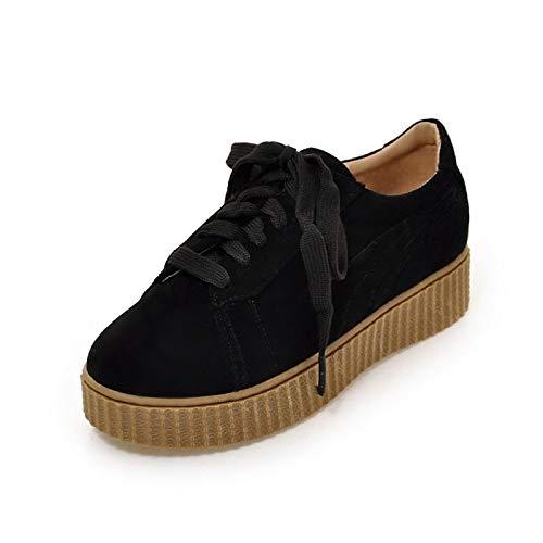 ZHZNVX Zapatos de Mujer PU (Poliuretano) Spring & Summer Comfort Sneakers Flat Heel Round Toe Blanco/Negro / Beige Black