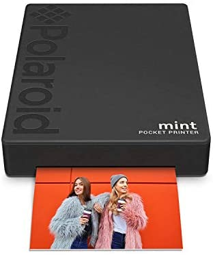 """Polaroid Mint: Taschendrucker mit Zink-Papier. Bluetooth für Android- und iOS-Geräte. Druckt in selbstklebendem Zink-Papier 2x3""""- Schwarz"""