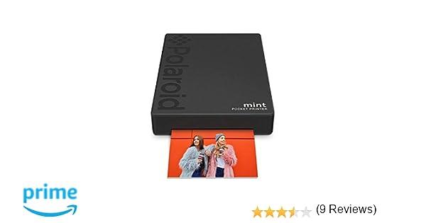 Polaroid Mint Impresora de bolsillo con Tecnología Zink Zero Ink papel adhesivo 5 x 7.6 cm - Bluetooth para Android y iOS (Negro)