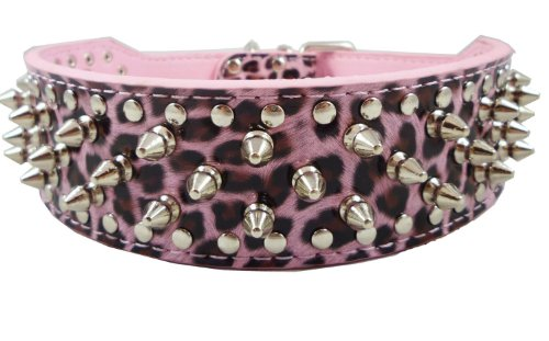 Pet Premium Pink Leopard 2 Inch Width Leather Spikes Studded Pet Dog Collar (S)