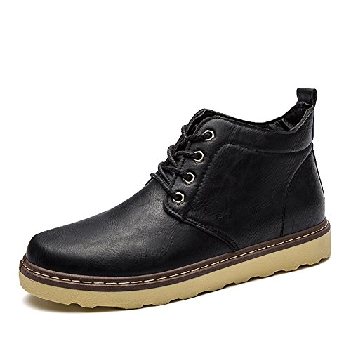 Black BomKin Leather Boots Bootie Fashion Mens Combat Ankle Winter rwf8rxq4