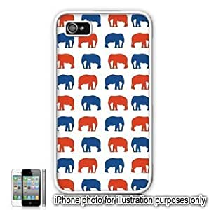 Red Blue Elephants Monogram Pattern For Ipod Touch 5 Case Cover Skin White