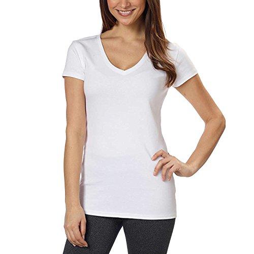 Kirkland Signature Ladies Premium Pima Cotton V-Neck T-Shirts -  White -