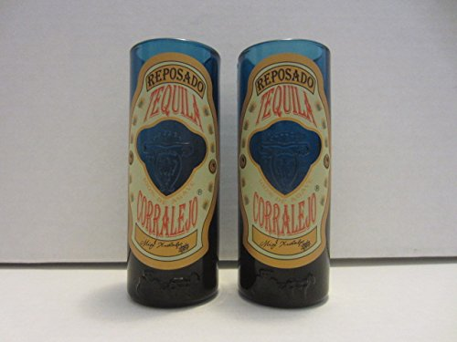 Set of 2 Corralejo Tequila Reposado Guanajuato Mexico Blue Glass Shooter Double Shot Glasses