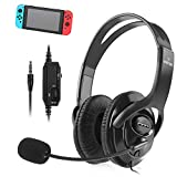 Insten Gaming Headset with Mic Compatible with Nintendo Switch/Lite Fortnite in Game Play Chat, PS4 PC 3.5mm Universal, Over-Ear Headphones Stereo Sound Output Flexible Metal Boom Microphone - Black