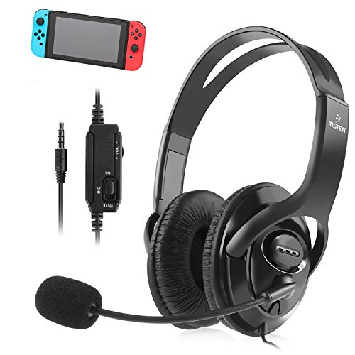 Insten Gaming Headset with Mic compatible with Nintendo Switch / Lite Fortnite In Game Play Chat, PS4 PC 3.5mm Universal, Over-Ear Headphones Stereo Sound Output Flexible Metal Boom Microphone - Black