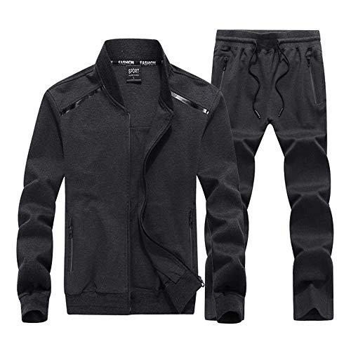INVACHI Mens 2 Pieces Athletic Full Zip Sports Sets Jacket & Pants Active Fitness Jogging Sweat Tracksuit Set Grey