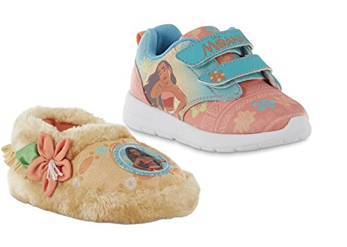 Disney Moana Toddler/Girls Sneaker Shoes and Slipper Gift Set (10 M US Toddler)