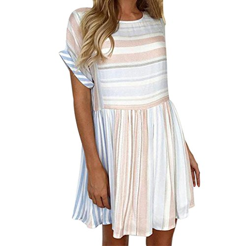 Limsea Women Sexy Stripe Printing Short Sleeve Mini Dress Princess Dress (Pink Sexy Stripe)