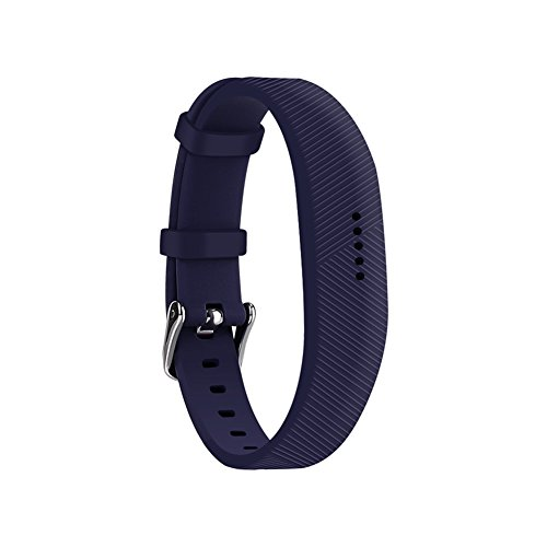 (Huadea Compatible bands Replacement for Fitbit Flex 2 with Watch Buckle,Soft Silicone Wristband (Navy))