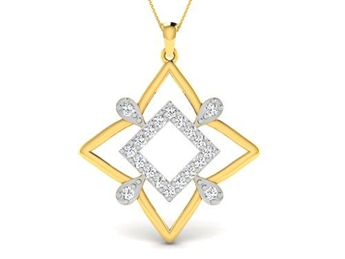 Or Jaune 14 ct Pendentifs Diamant en forme de carré, 0.37 Ct Diamant, GH-SI, 2.21 grammes.