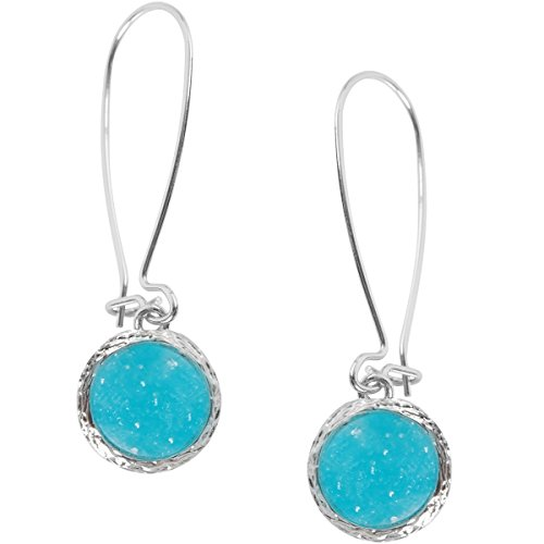 (Humble Chic Simulated Druzy Threaders - Upside-Down Long Hoop Dangle Drop Earrings for Women, Simulated Turquoise Silver-Tone, Teal, Simulated Aquamarine)