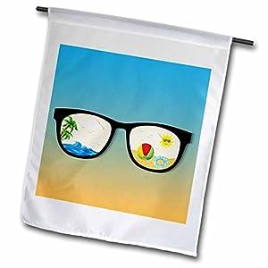 3dRose fl_116887_1 Cute Summer Fun Scene Shades Sunglasses Vector Design on Gradient Background Garden Flag, 12 by 18-Inch