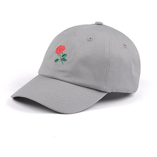 - Rose Embroidered Dad Hat Women Men Cute Adjustable Cotton Floral Baseball Cap (Grey)