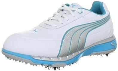 Puma FAAS Trac Wns 185912, Damen Sportschuhe - Golf, Weiss (white-silver metallic-blu 2), EU 38.5 (UK 5.5) (US 8)