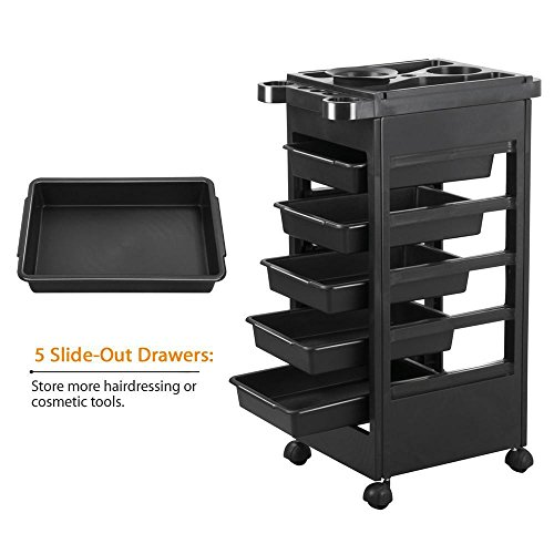 Popamazing Hair Salon Rolling Trolley Storage Cart W 5