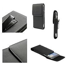 DFV mobile - Leather Flip Belt Clip Metal Case Holster Vertical for => ACER LIQUID JADE Z, S57 > Black