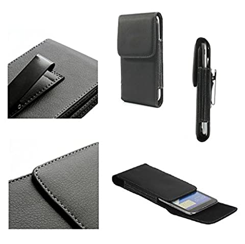 DFV mobile - Leather Flip Belt Clip Metal Case Holster Vertical for => LG MS659 OPTIMUS F3 4G (2013) > (Lg Optimus F3 Metal Case)