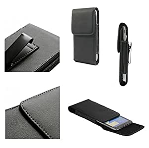 DFV mobile - Leather Flip Belt Clip Metal Case Holster Vertical for => Huawei Honor 3X Pro > Black