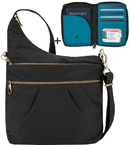 Travelon Anti-Theft Signature 3 Compartment Travel Cross Body Shoulder Bag with Matching RFID Blocking Zip Around Passport Travel Wallet, Black    (Wallet Signature Small)