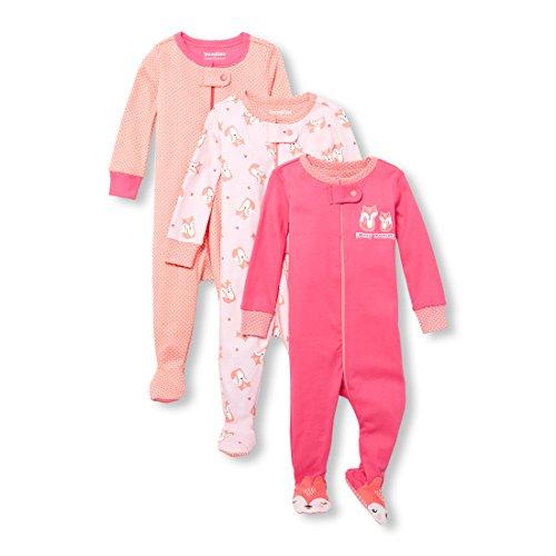The Children's Place Baby Girls 3 Pack Stretchie Set, GERANIUMPINK, 9-12MOS