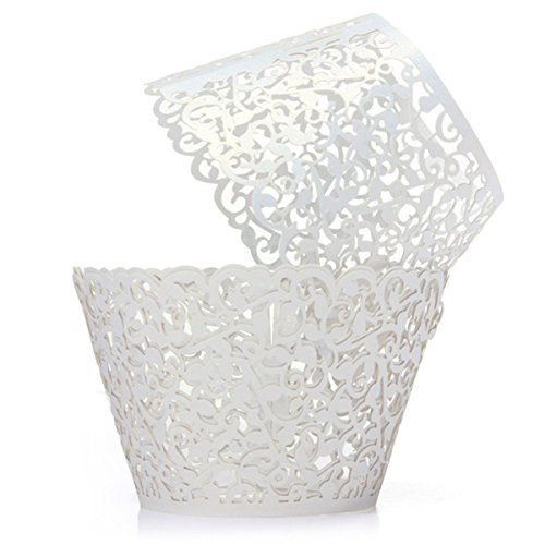 YOZATIA 60PCS Vine White Cupcake Wrapper, Lace Cupcake Wraps Liner for Wedding Party Cake Decoartion (White)