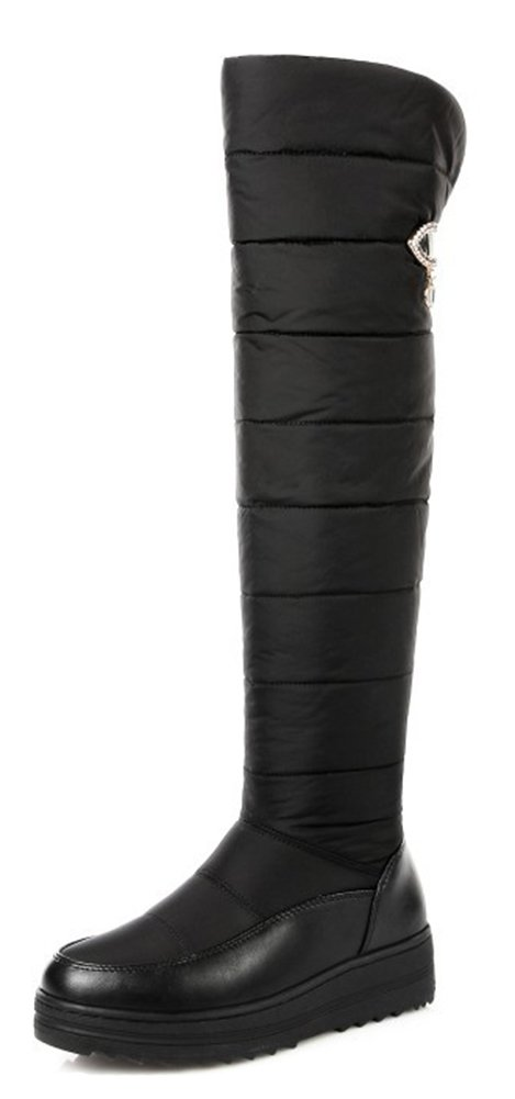 Aisun Women's Warm Round Toe Thick Sole Faux Fur Lined Inside Zip up Platform Flat Down Over The Knee Snow Boots (Black, 9.5 B(M) US)