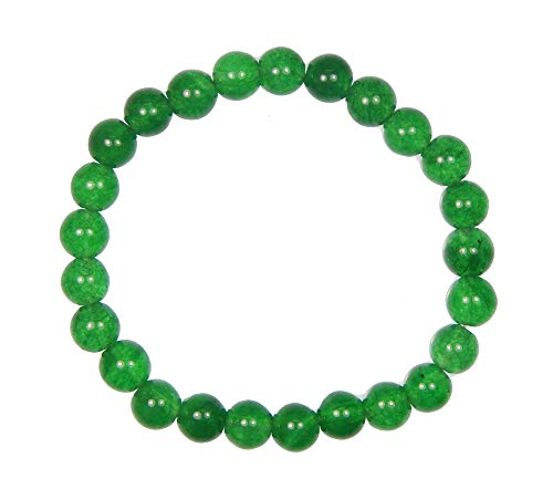(Myhealingworld Green Gemstone Bracelet 8mm Round Beads Meditation Stretchable Unisex Wristband September Birthstone)