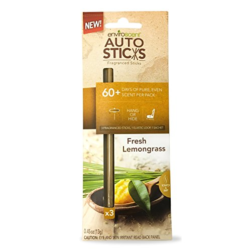 Enviroscent AutoSticks Aroma Diffusers for Cars, Fresh Lemongrass Fragrance, Box of 3 (Peony Box Blend)