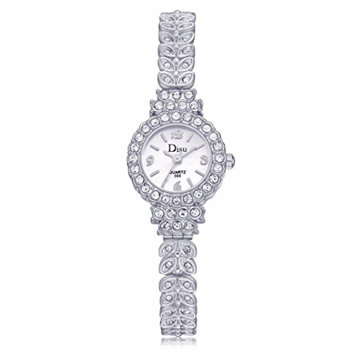 Women Rose Gold Plated Alloy Rhinestone Dial Bracelet Wrist Watch Gift Gold - 2