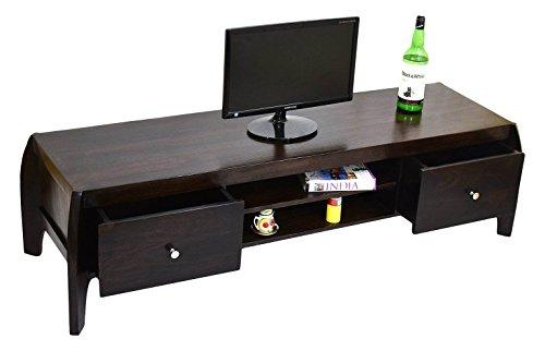 TimberTaste BOW Solid Wood TV Entertainment Unit (Dark Walnut Finish)