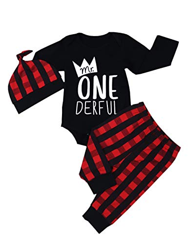 Newborn Baby Boy Girl Clothes Little Man Long Sleeve Romper,Plaid Pants + Cute Hat 3pcs Outfit Set (F-Black, 9-12 Months)