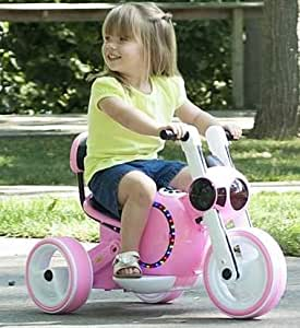 Motorized Cars For Kids-Pink Mini Motorcycle Trike with LED Lights Realistic Driving Experience for Your Little Ones