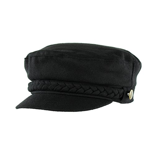 Aegean Cap (Cute Black Cotton Blend Fiddler Hat, Aegean Greek Fisherman Cap W/Braided)