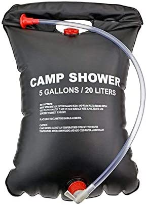 Xigeapg 2 x 20L Camping Duschtasche Schwarz 20 Liter Reise Duschetasche Tragbare Solar Beheizung 5-Gallonen
