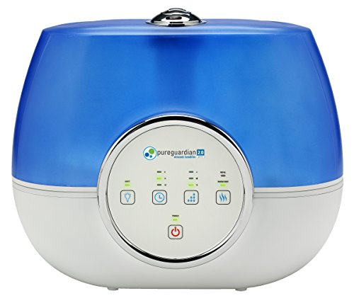 PureGuardian H4810AR Ultrasonic Warm and Cool Mist Humidifier for Bedrooms, Quiet, Filter-Free, 120 Hr, 2 Gal Treated Tank Surface Resists Mold, Pure Guardian Humidifier with Essential Oil Tray