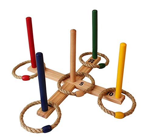 Ring Toss Games Indoor - Outdoor Kids Games - Toys Set - Includes 5 Colorful Rope Rings - Fun Family Games for Kids & Adults Backyard, BBQ, Yard Games, Family Reunion, Pool Party
