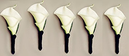 5pc-Boutonnieres-Real-Touch-Calla-Lily-with-Black-Satin-Ribbon-Artificial-Flowers
