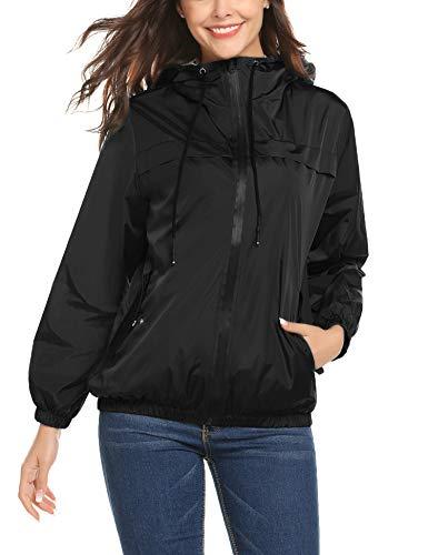 LOMON Windbreaker Raincoats Waterproof Lightweight Rain Jacket Outdoor Hooded Women's Trench -