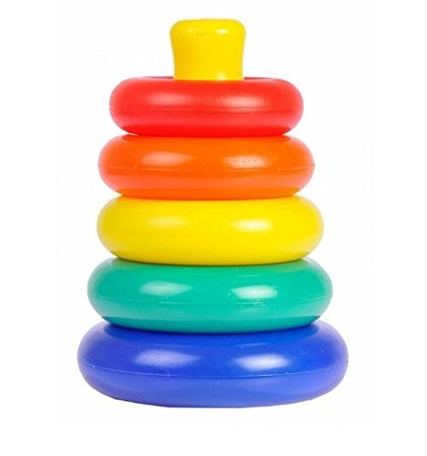 (Storite Rainbow Color Rock and Rings Stack/Rock-a-Stack Musical/Educational/Toys for Gift Set for Children(6month-5years Old)-7 Rings)
