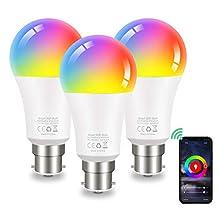 Bombilla LED Inteligente WiFi 9W 1000 Lm Lámpara, B22 Multicolor Bombilla Compatible con Alexa, Echo, Google Home, 3 Pcs