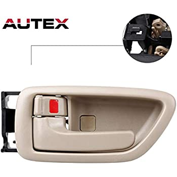 PT Auto Warehouse TO-2901MB-RH Brown Inside Interior Inner Door Handle Passenger Side Fawn Knob with Chrome Lever