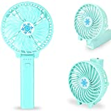 Portable Handheld Fan Battery Operated, Mini Personal Travel Fan Rechargeable with LED Emergency Light , 3 Speeds, Strong Airflow, Folding Design ,for Women and Teenager Outdoor Activities (Light blue