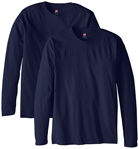 (Hanes Men's Long Sleeve Nano Cotton Premium T-Shirt (Pack of 2), Navy, Large)