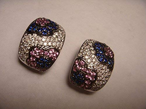 - Magnificent Estate 14K White Gold Sapphire Pave Diamond Floral Earrings