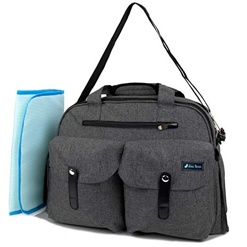 JOIE BEAN Tote Diaper Bag for Mom, Dad | Large Messenger Baby Bag with Shoulder Strap, Changing Mat, Insulated Pockets, Stroller Straps | Multi-Function Organizer Maternity Bag for Travel (Charcoal)